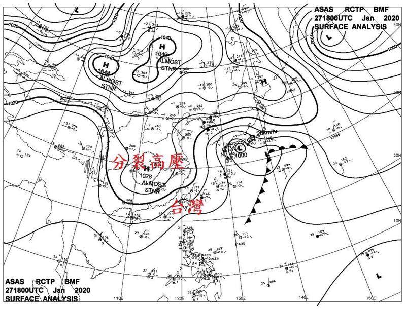中央氣象局副局長鄭明典說,因分裂高壓偏南出海,冷空氣到台灣前,經過海面的時間短,所以為台灣帶來低溫,中南部也很有感。圖/取自鄭明典臉書