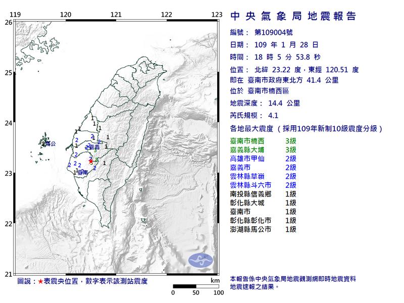 台南晚間6時05分發生規模4.1地震,最大震度台南3級。圖/中央氣象局提供