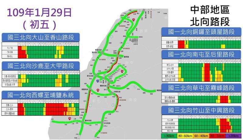 明天中部地區北向路段路況預報圖。圖/高公局提供