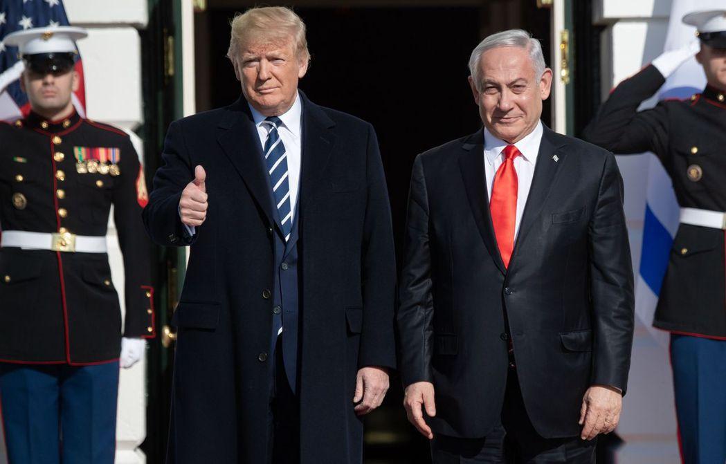 川普27日在白宮迎接以色列總理內唐亞胡。法新社