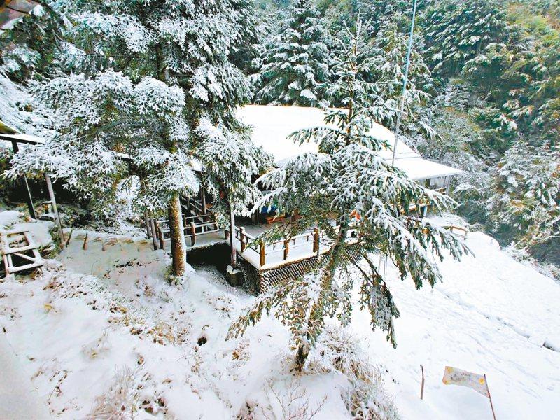 寒流來襲,高山地區下起雪來,昨天嘉明湖山區的向陽山屋和嘉明湖避難山屋都有不小的積雪。 圖/天馬登山隊提供