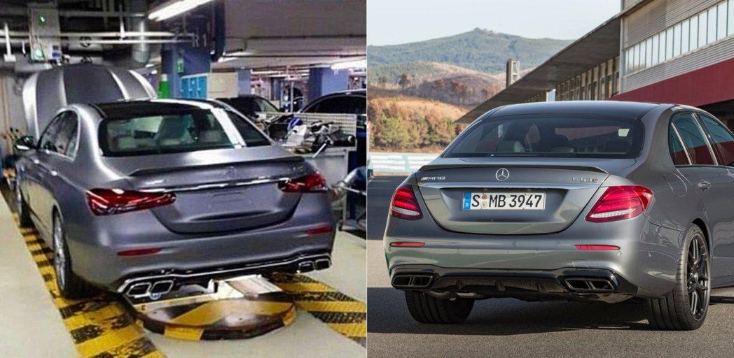 小改後E63車尾(左)小改前E63車尾(右)。 摘自Mercedes