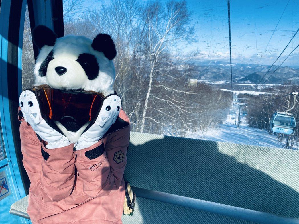 愛紗戴上可愛的熊貓帽保暖。圖/愛紗提供