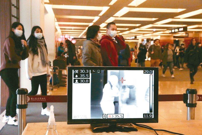 武漢肺炎疫情延燒,國立故宮博物院率先啟動量額溫、紅外線體溫偵測器雙重措施,其他國內大型表演藝術中心,也要求入場要量額溫。 記者徐兆玄/攝影