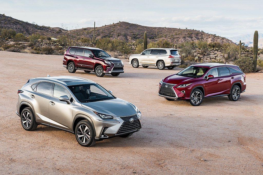 Lexus旗下UX、NX、RX、GX以及LX等豪華休旅車共賣出21.7萬輛成績,...