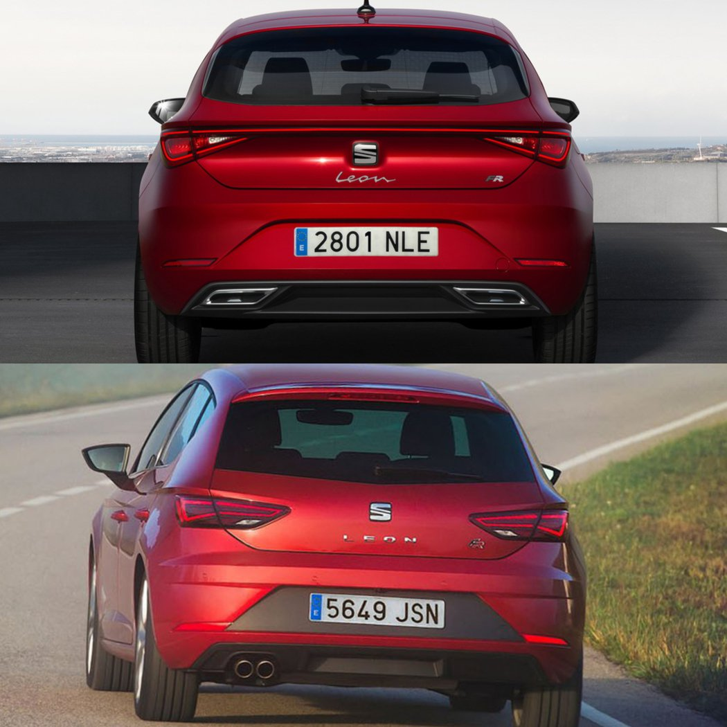 SEAT Leon車尾對比,改款後(圖上)改款前(圖下)。 圖/SEAT提供