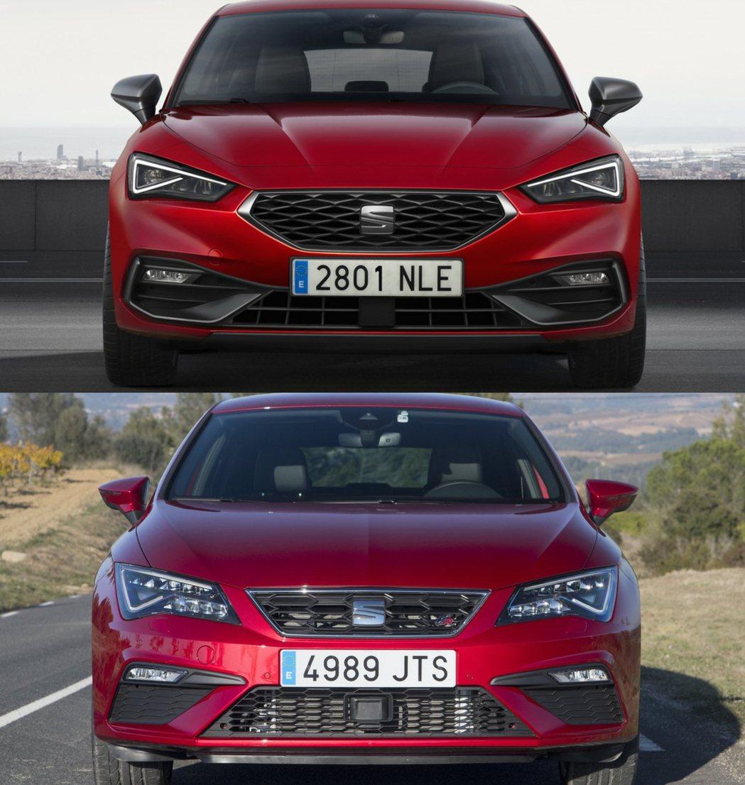 SEAT Leon車頭對比,改款後(圖上)改款前(圖下)。 圖/SEAT提供