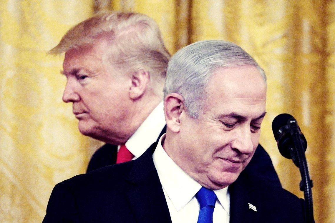 28日,美國總統川普與以色列總理納坦雅胡(Benjamin Netanyahu)...
