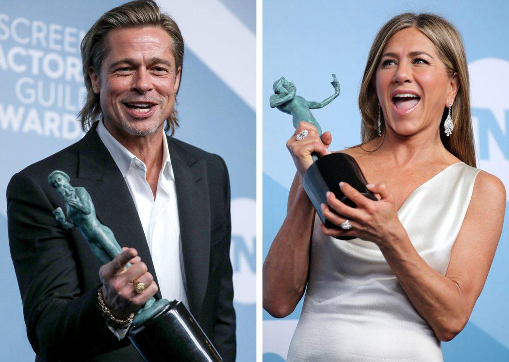 布萊德彼特與珍妮佛安妮絲頓都在美國演員工會獎獲肯定,彼此間近來友好互動不少,一直