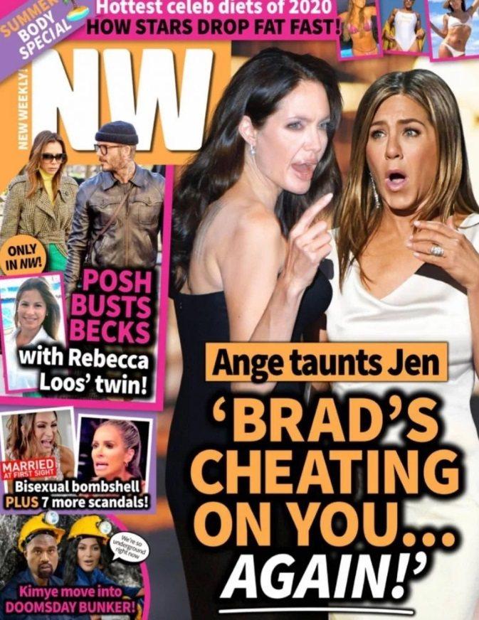 八卦雜誌封面報導裘莉故意唱衰珍妮佛安妮絲頓的新戀情。圖/摘自NW