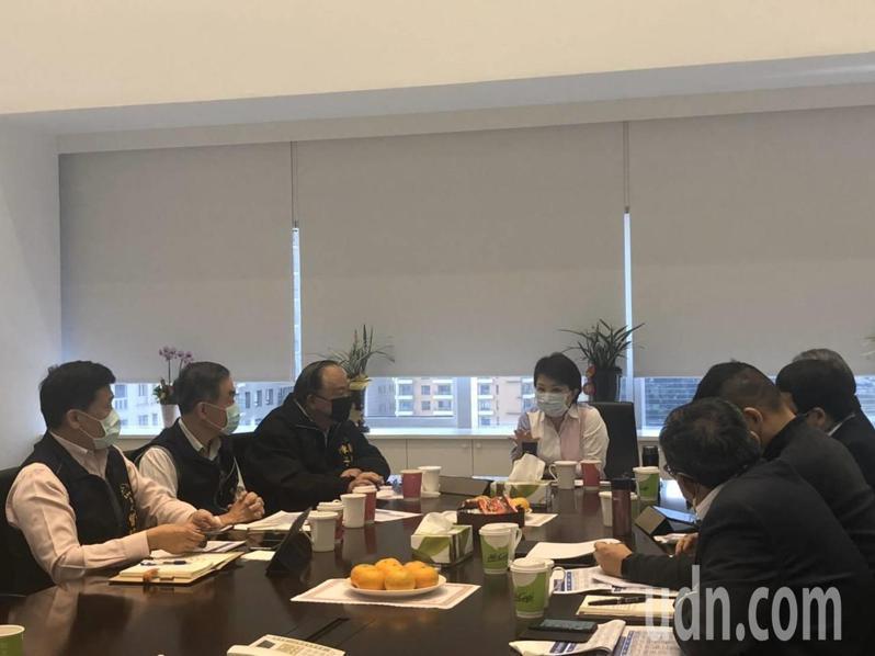 新春開工第一天,台中市長盧秀燕(中)上午7點半召開防疫會議,要求訪查坊間通路的口罩數量、價格,避免市民買不到口罩而恐慌。圖/台中市新聞局提供