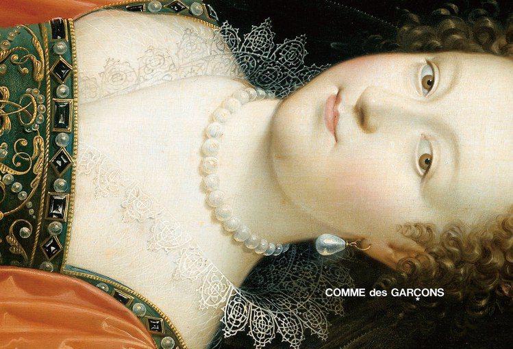 COMME des GARÇONS的官方網站首頁,一幅橫向倒置的古典油畫,透過人...