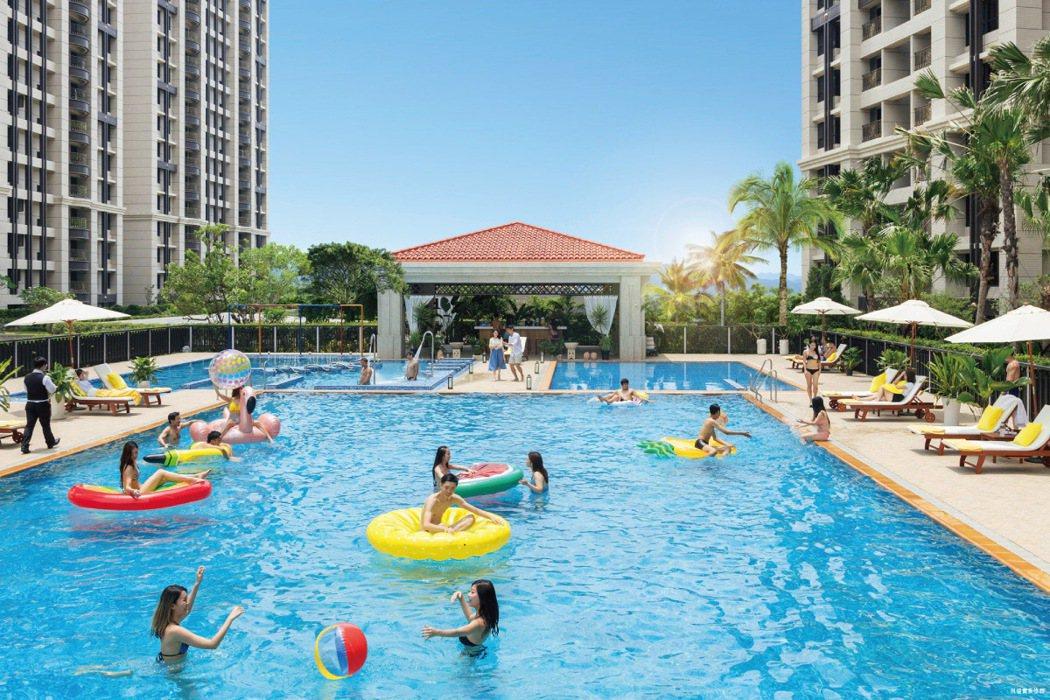 2500坪中庭泳池花園,成為社區住戶聯繫情誼的最佳平台。 圖/海悅國際開發股份有...