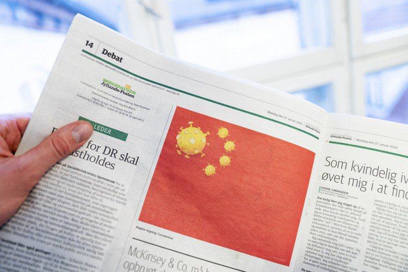 日德蘭郵報日前出刊的漫畫將中國五星旗改為五枚冠狀病毒。網路照片