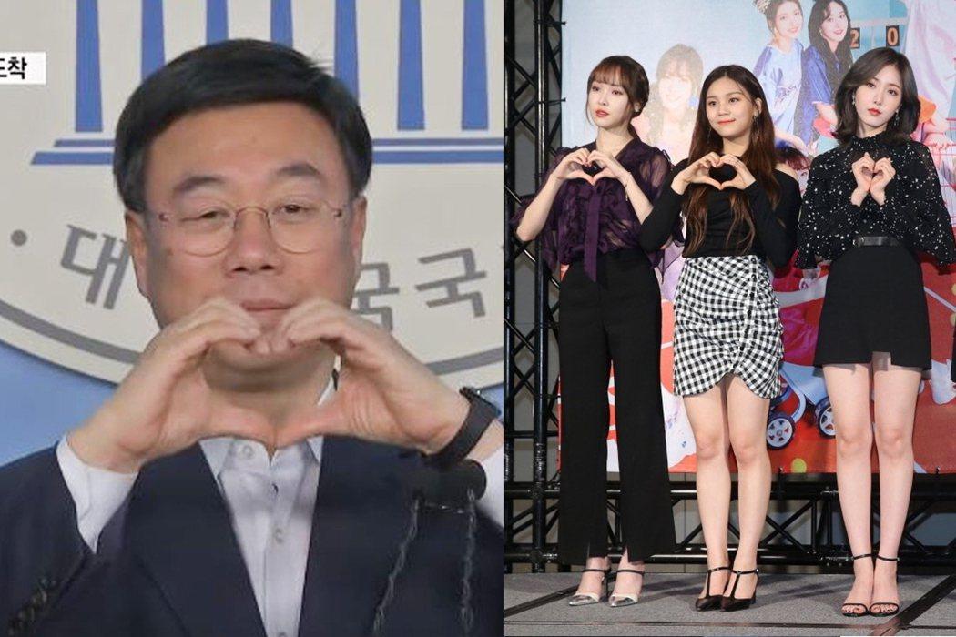許多南韓偶像團體也會比愛心手勢,提供媒體拍照。聯合報系資料照片/記者林伯東攝影