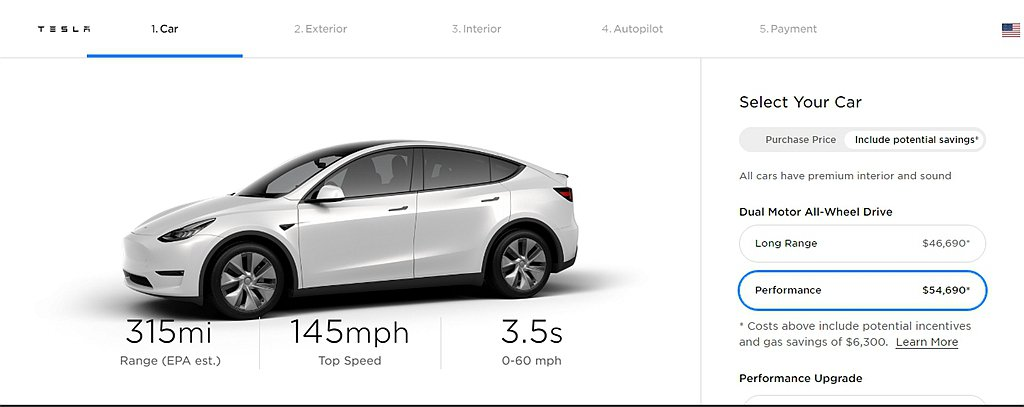 連特斯拉 Model Y AWD Performance性能車型都具備315mi...