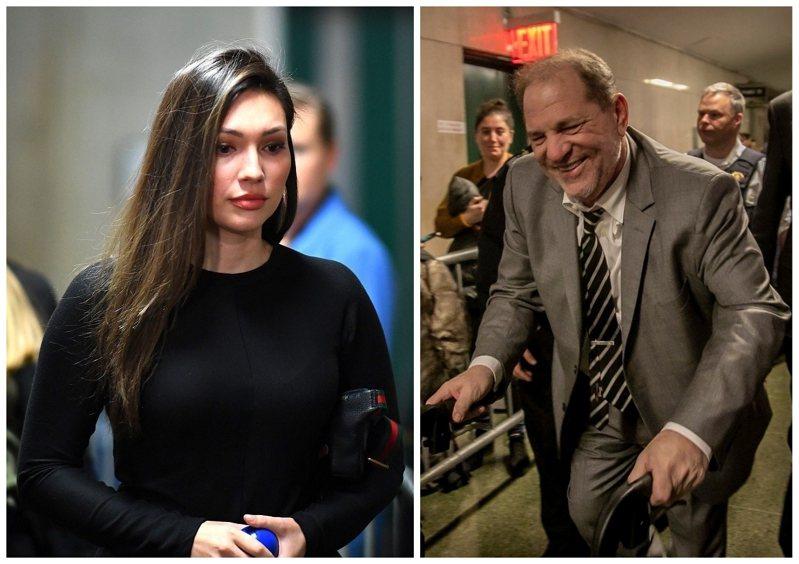 美國前影視大亨溫斯坦(右)被控性侵案31日開庭,前女演員曼恩(左)當庭大爆露骨細節,讓她第一次看到溫斯坦裸體時,就覺得他很可憐,沒有睪丸、性器官像是女性生殖器,如同「身體殘缺或雙性人」,讓陪審團越聽越不舒服。美聯社/法新社