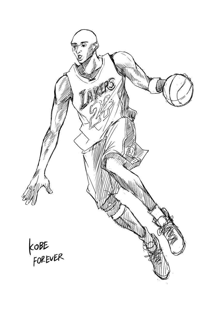 日本漫畫家鳩胸つるん畫了一幅Kobe肖像畫。
