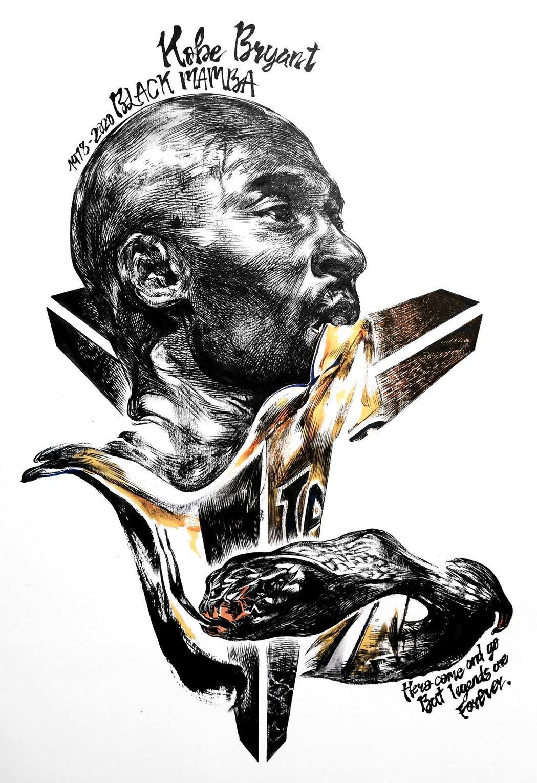 香港有擅畫人像的插畫師WaiMan Tsang畫了一幅Kobe肖像畫悼念。