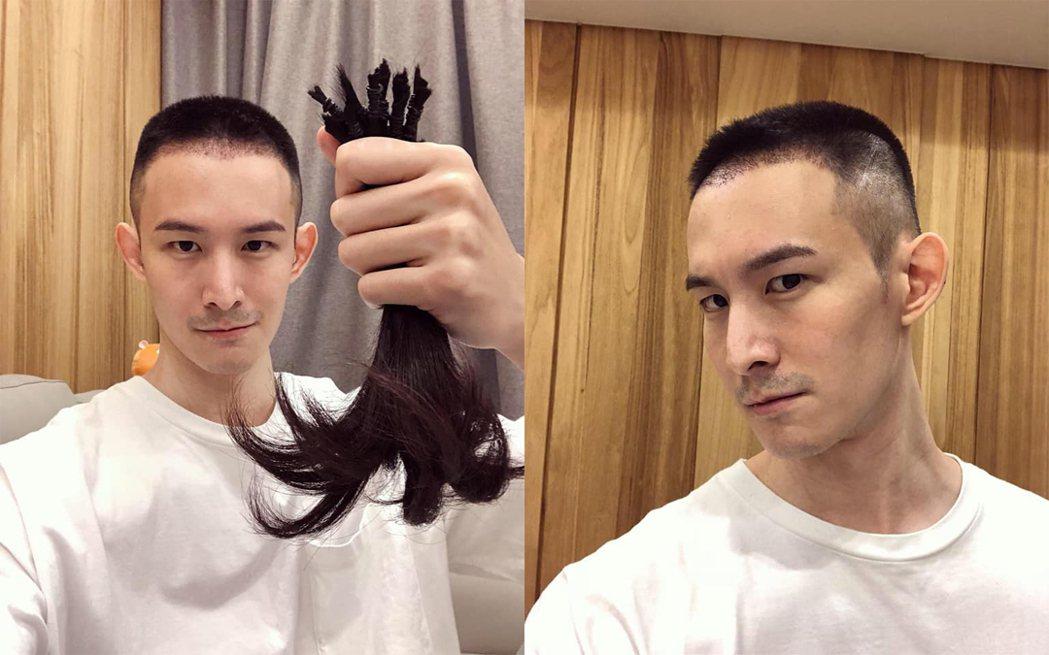 波特王剪去長髮,捐髮做善事。圖/擷自波特王臉書