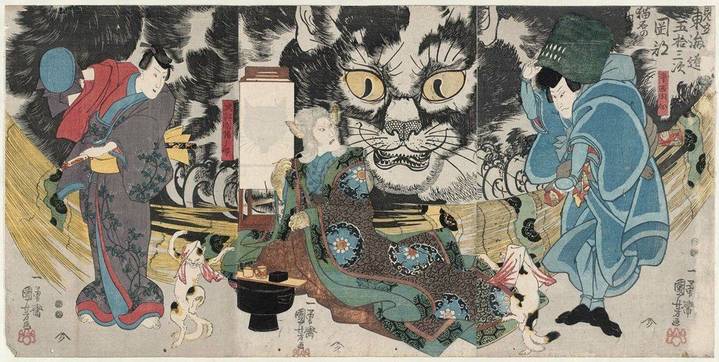 圖/歌川国芳的《見立東海道五拾三次 岡部 猫石の由来》