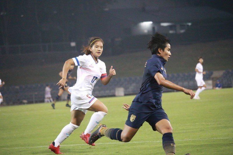 中華隊隊長丁旗第19分鐘率先破門。圖/中華足球協會提供