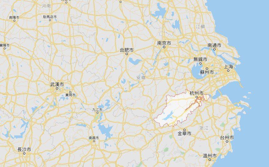 杭州市位置。google地圖