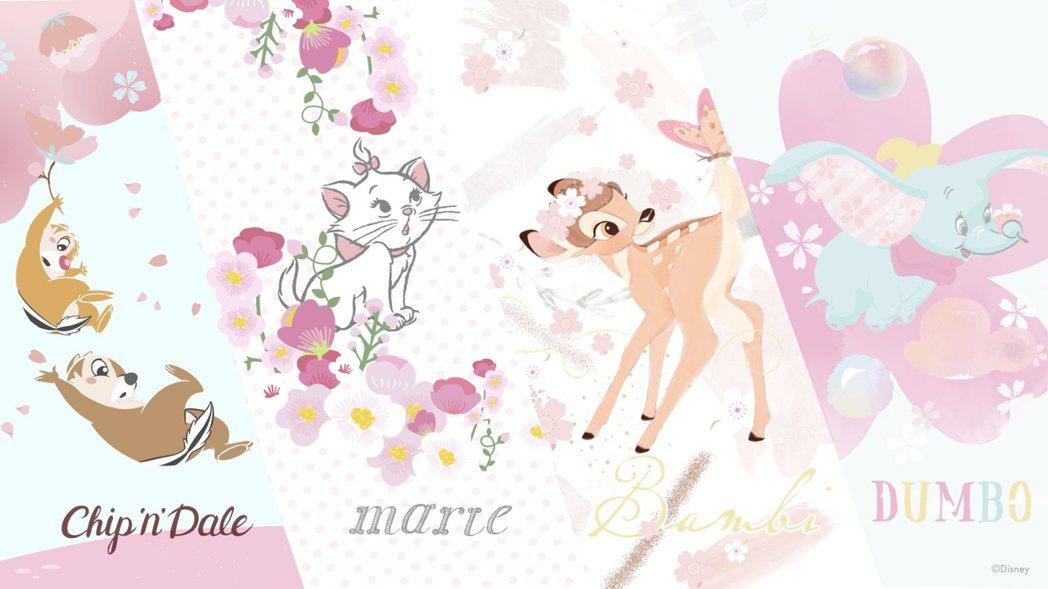 「迪士尼櫻花季」奇奇蒂蒂、瑪麗貓、小鹿斑比、小飛象四大主題。業者/提供