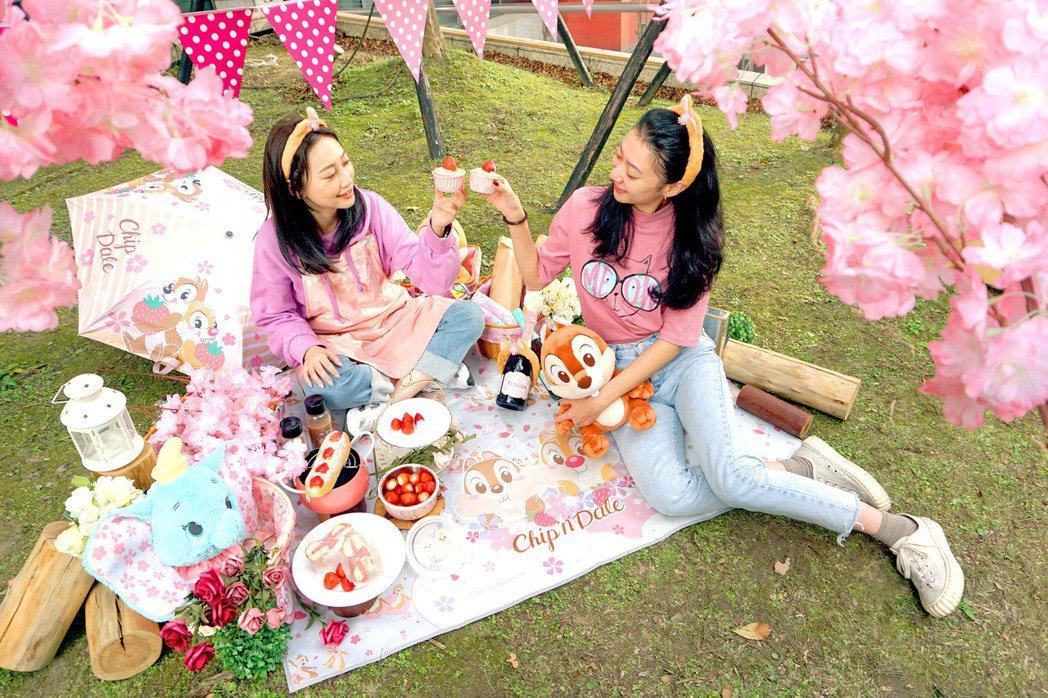 迪士尼櫻花季粉紅野餐派對示意圖。業者/提供