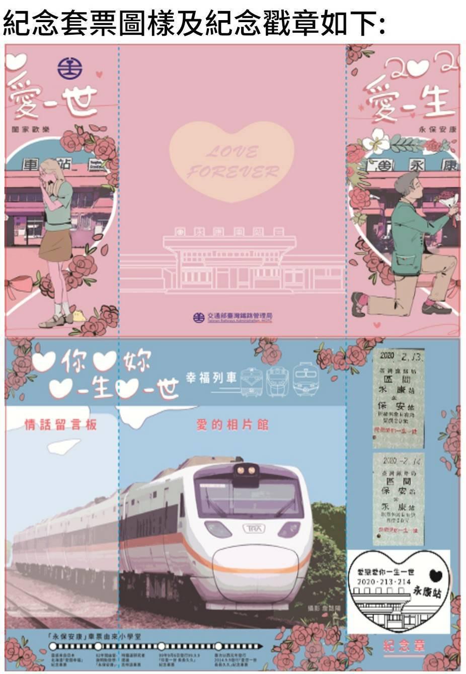紀念套票圖樣及紀念戳章。圖/台鐵局提供