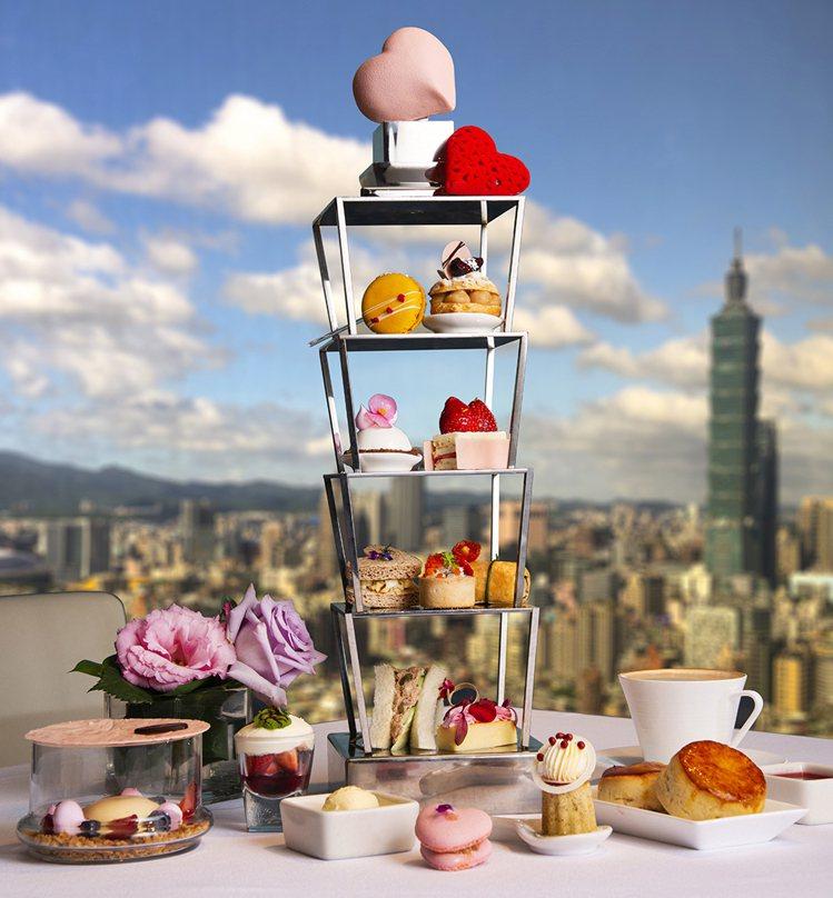 馬可波羅酒廊推出「甜心101」情人下午茶 。圖/香格里拉台北遠東大飯店提供