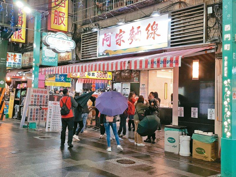 西門町、士林夜市等都有知名店家用餐時段排隊人潮變少情況。 記者翁浩然/攝影