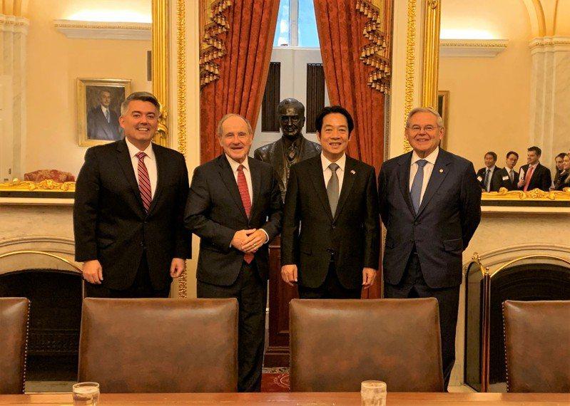 副總統當選人賴清德4日會晤美國聯邦參議院外交委員會主席芮胥(Jim Risch)等議員。圖/美國參議院外委會提供
