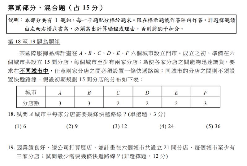 111學年大學學測參考試卷出爐,數學科混合題考快遞路線配置。圖/取自大考中心官網