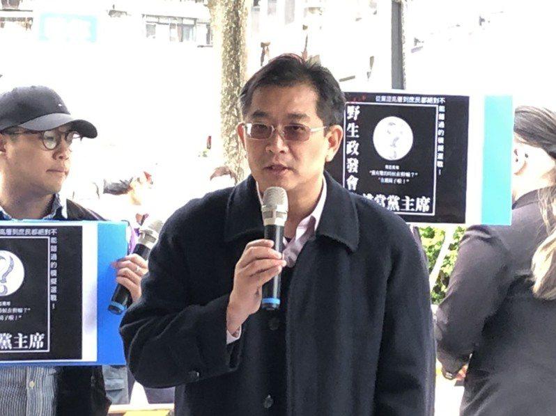 國民黨前副秘書長張雅屏今天下午在中央黨部前正式拋出停止黨主席補選呼籲。圖:記者王寓中攝。