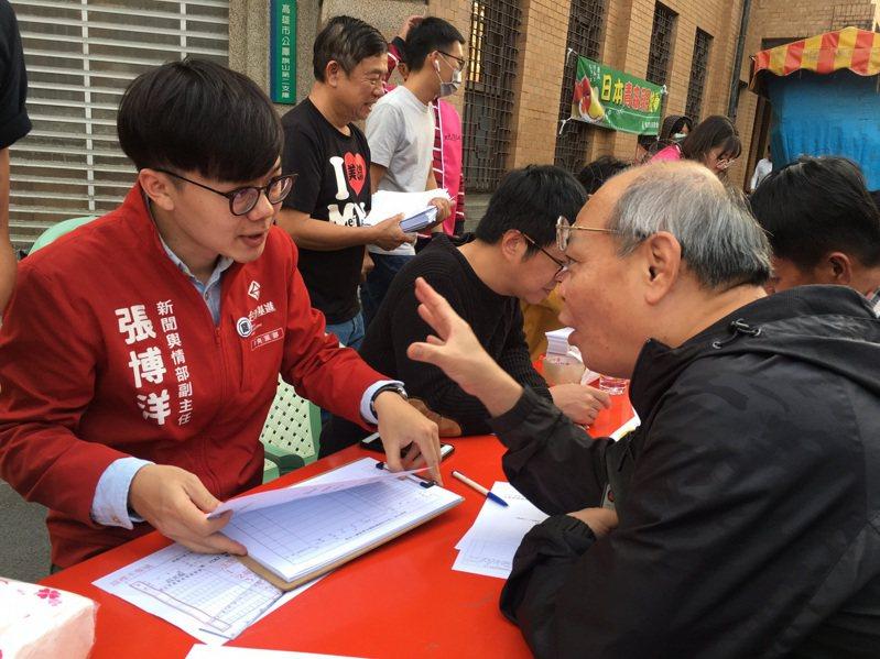 台灣基進新聞輿情部副主任張博洋(左)表示,海外寄回來的連署書,也是高雄的團結抗敵的證明。圖/台灣基進提供