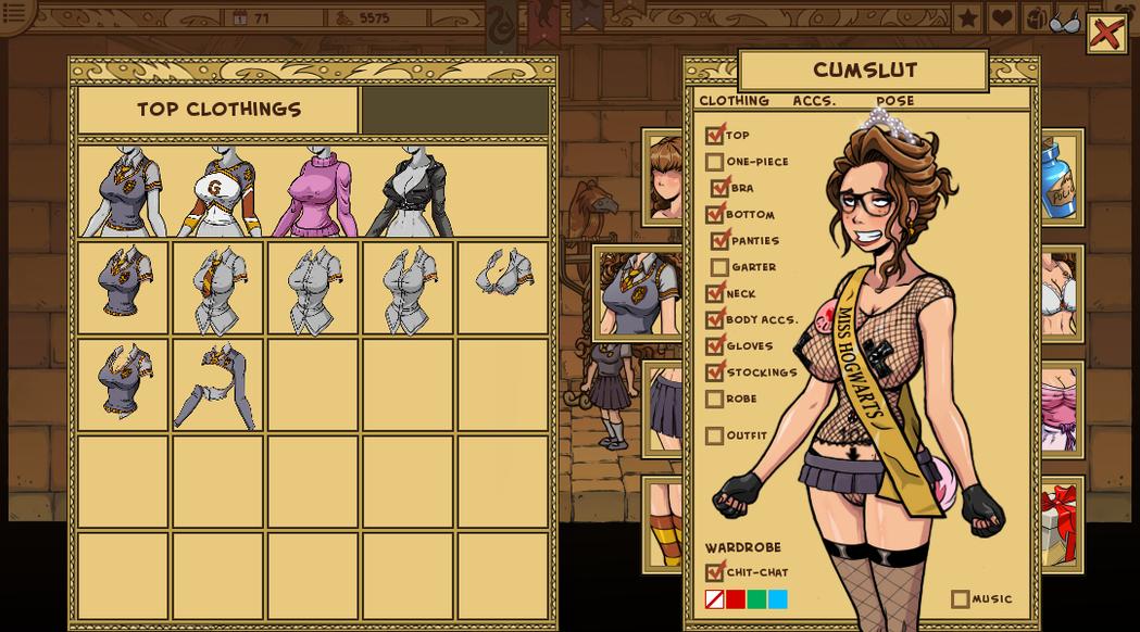 遊戲中的紙娃娃系統,玩家可以隨著角色調教進度的進展讓她換上更大膽的衣服,也有套裝...