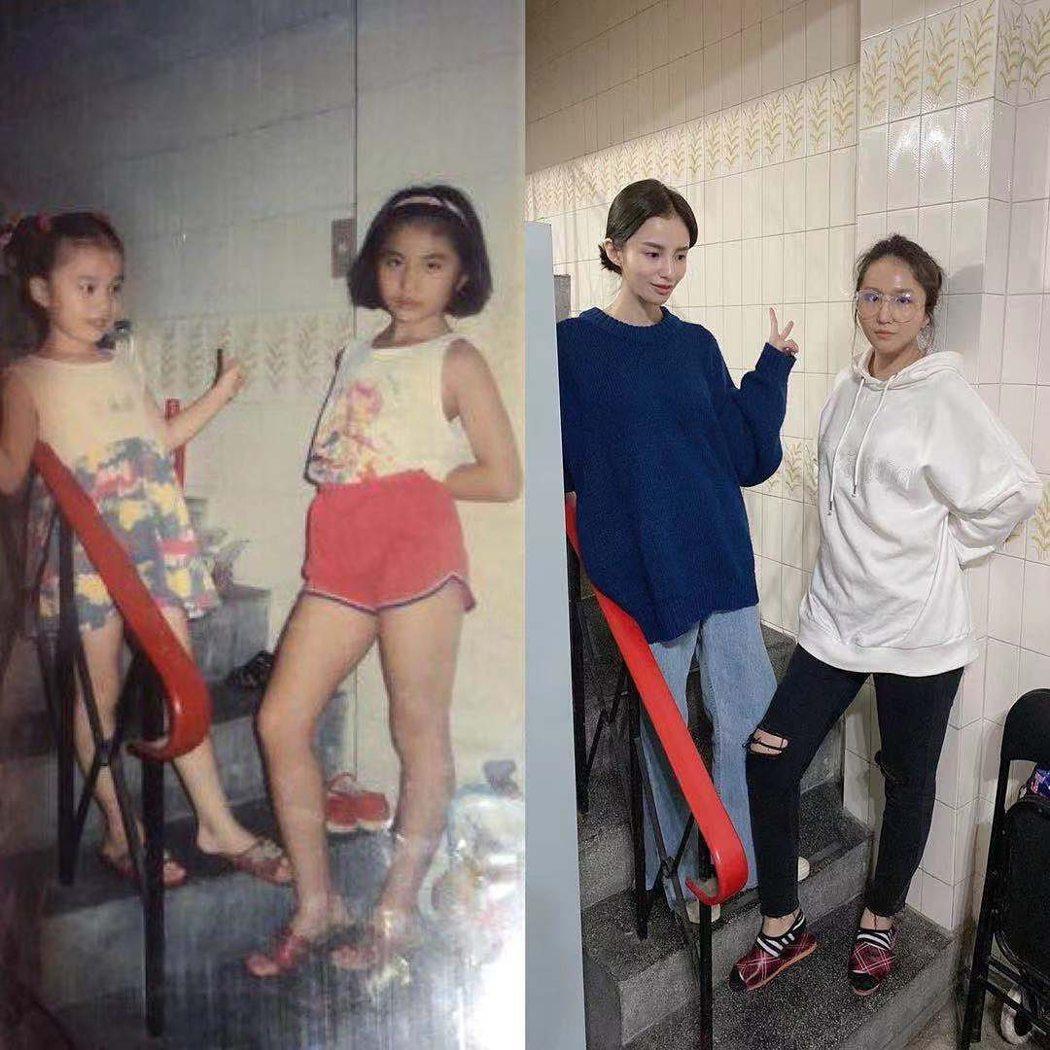 張甯兒分享姊妹倆今昔對比照,還擺出一樣的姿勢。圖/擷自張甯兒IG