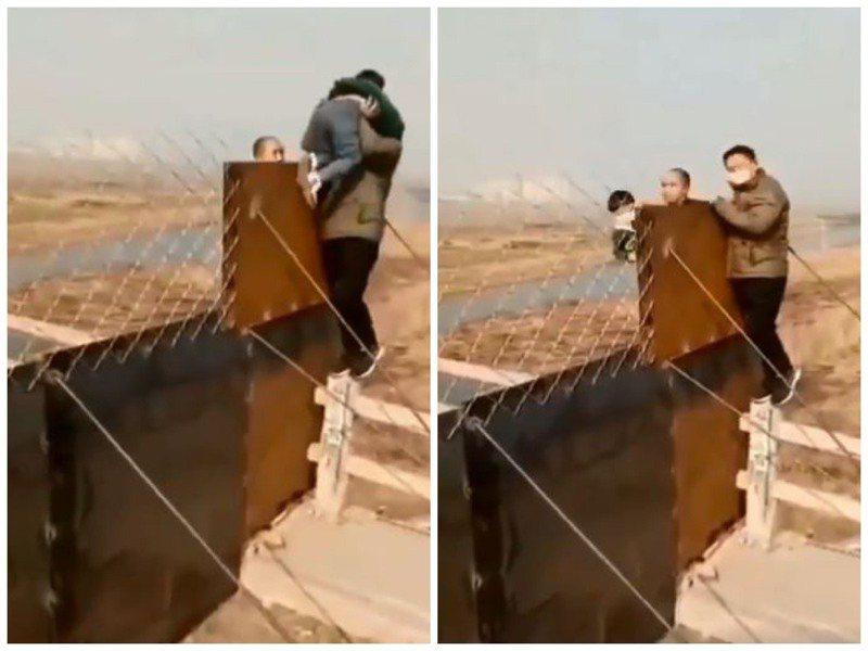 一段爸爸把孩子抱出城牆外「逃出武漢」的畫面讓網友們看了震驚不已。圖擷自臉書