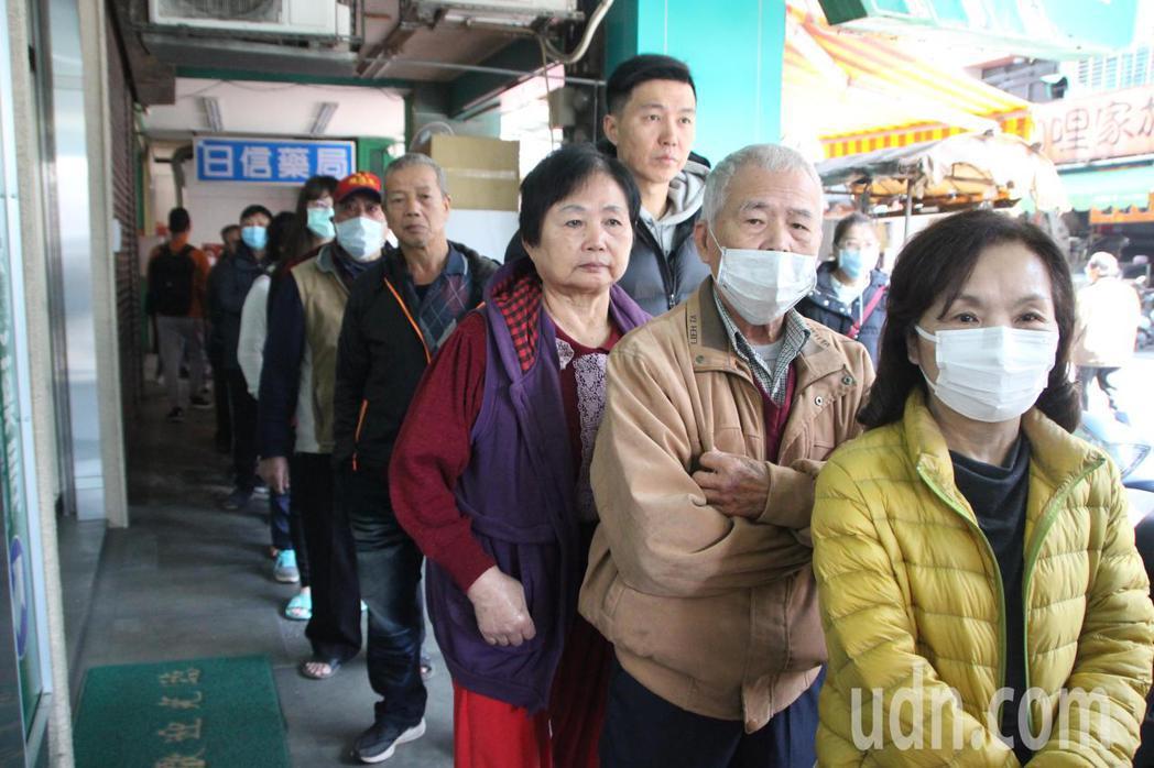 民眾排隊買口罩示意圖。記者林敬家/攝影