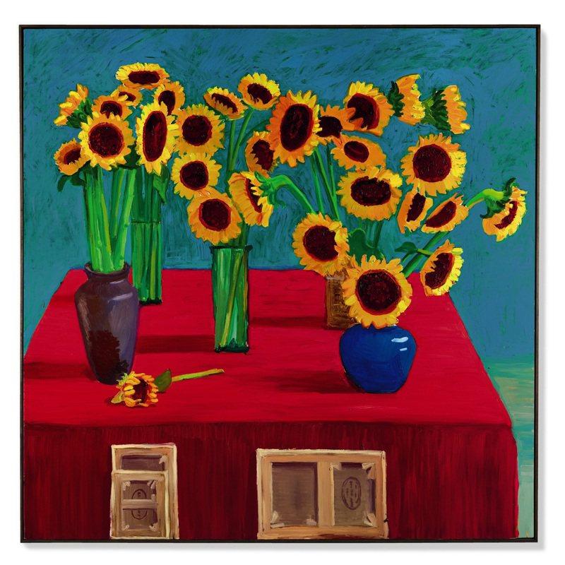 David Hockney於1996年創作的《三十朵向日葵》將領銜蘇富比香港春拍。圖/蘇富比提供