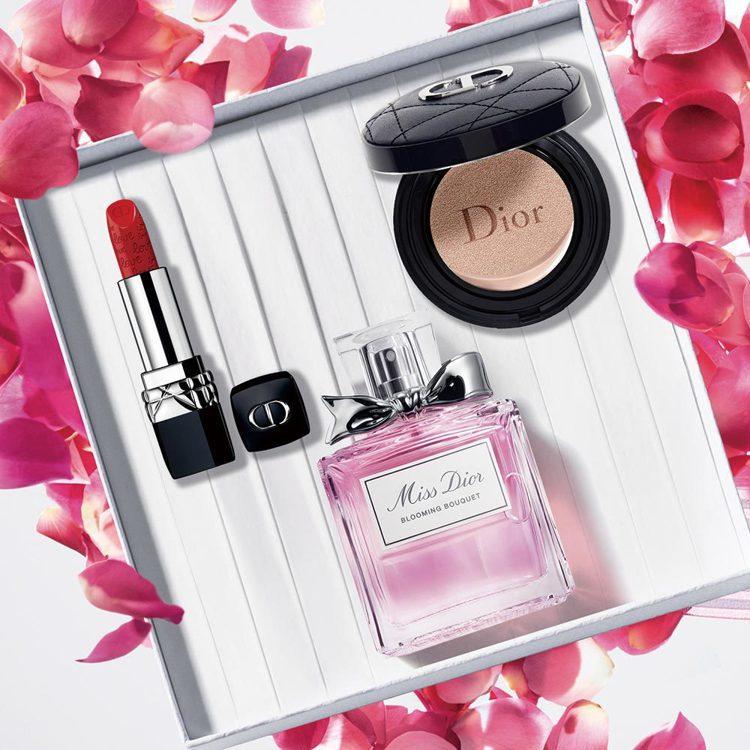 迪奧線上快閃店獨賣Miss Dior告白禮盒 ,內含超完美柔霧光氣墊粉餅(色號#...