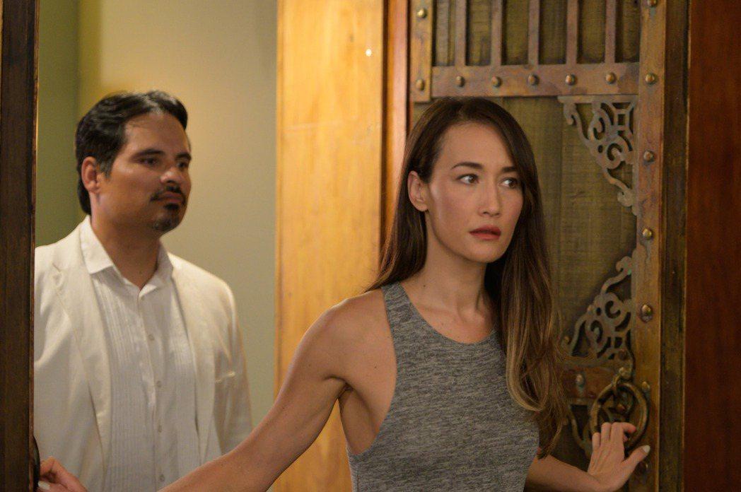 Maggie Q和麥可潘納在「逃出夢幻島」有不少對手戲。圖/索尼提供