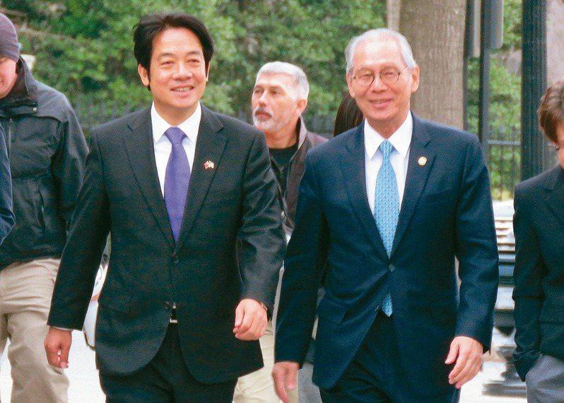 副總統當選人賴清德(前左)五日赴白宮國安會,備受關注。訪美行重頭戲是六日出席國家祈禱早餐會,將與美國總統川普同場。 華盛頓記者張加/攝影