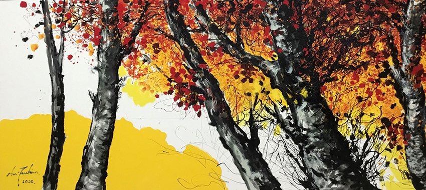 這次展覽中「滬尾藝文的燦爛」、「豐收」、「紅葉」、「東北角海岸」、「尼羅河的風帆...