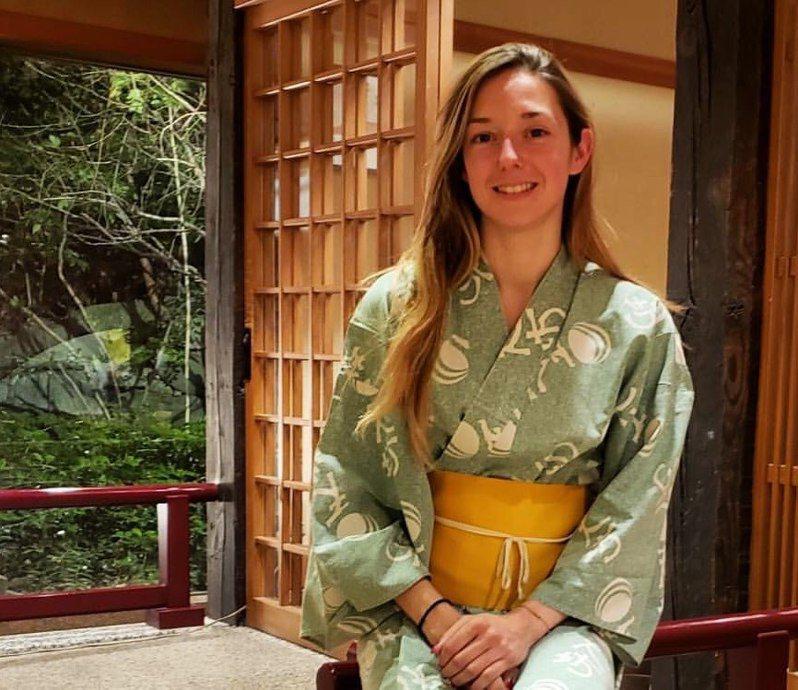 法國美女騎師米凱兒身著日本浴衣,迷倒不少日本粉絲。圖/ Instagram