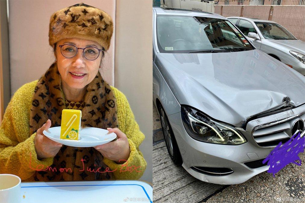 汪明荃開車撞上大貨車。圖/擷自微博