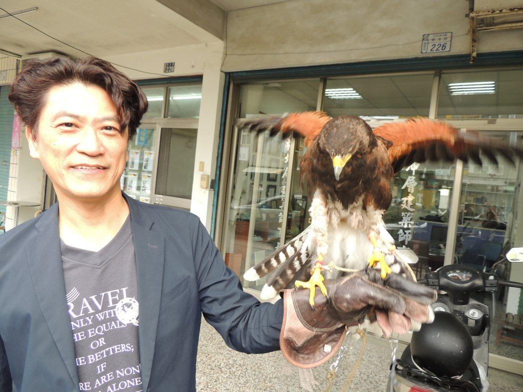鷹類養再久仍有野性,尤其鷹爪相當銳利,要有皮手套防護,還要有眼罩、GPS(衛星定...