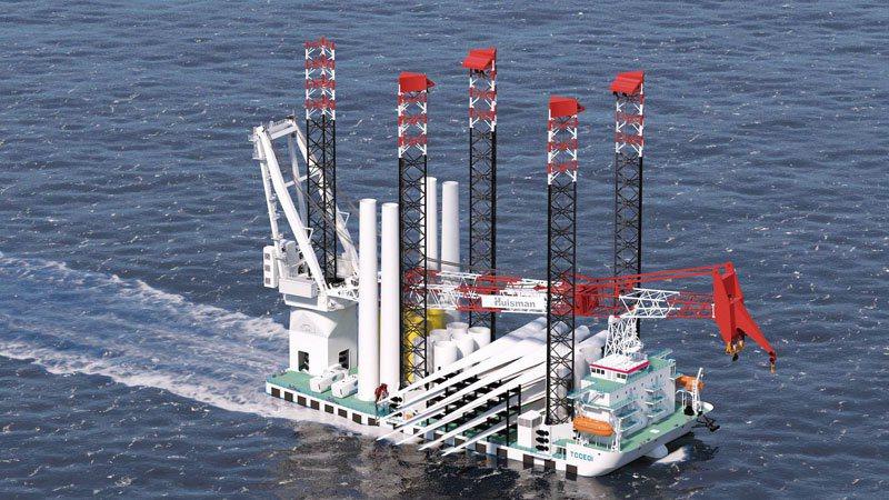 陳文淵設計的五角風機安裝船,具有專利保護,預期2022年將成為第一艘懸掛臺灣國旗的風機安裝船開回臺。 攝影‧孫玉璞