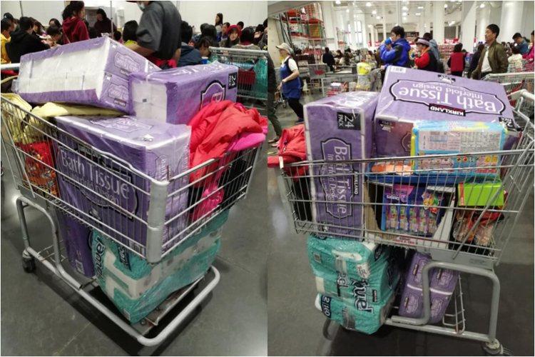 許多人親友群組謠傳衛生紙將缺貨,Costco好市多出現搶購衛生紙人潮。圖/翻攝自...
